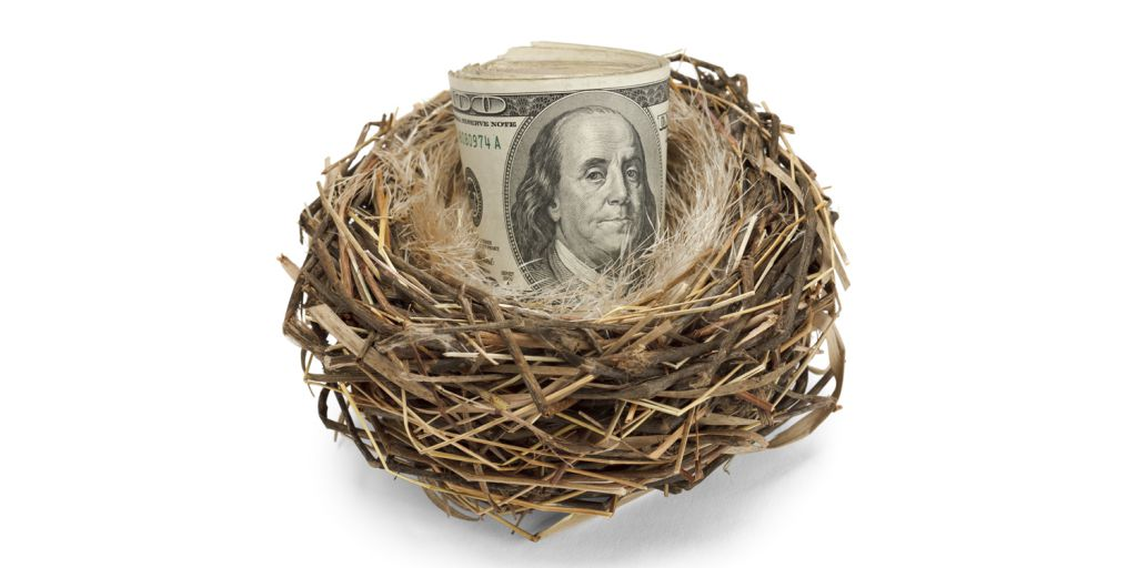 One hundred dollar bills rolled up and sitting in a bird's nest
